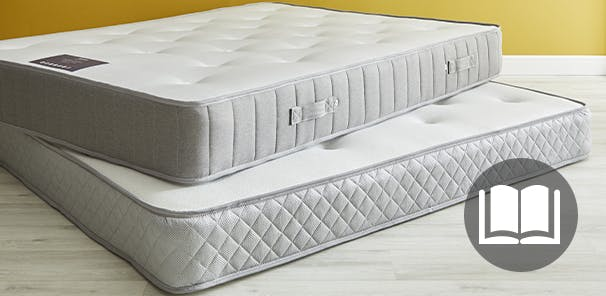 2 Mattresses stacked in a yellow room. A book icon sits on top of the image