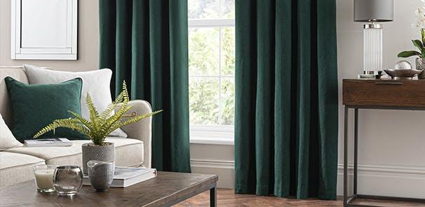Luna Brushed Emerald Blackout Eyelet Curtain