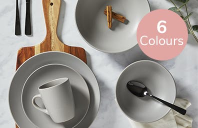 Grey dinner set laid out on surface. Available in 6 colours