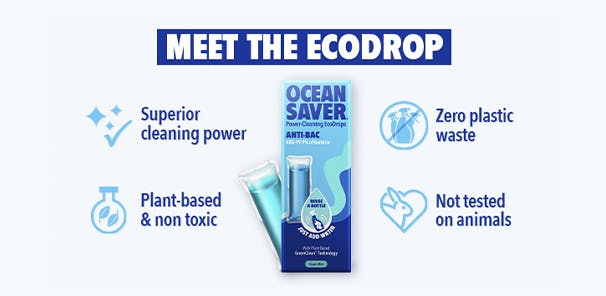 Brand imagery and information of ocean saver Refill Drop AntiBac Cleaner
