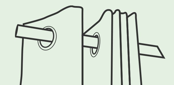 The outermost eyelet fits to the outside of the bracket between the bracket and finial to prevent the curtain sliding all the way across the window