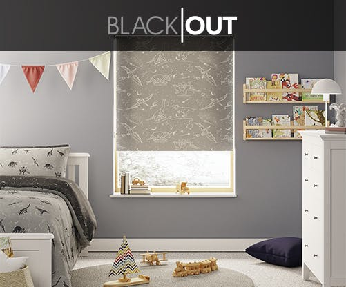 black background blind with white doodle dinosaurs on a blind in a neutral bedroom
