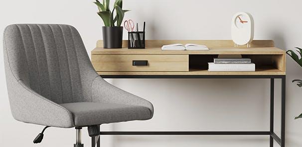 Oak effect desk with single drawer and shelf