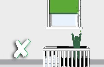 Do not place your child's cot, bed, highchair or playpen near a window blind.