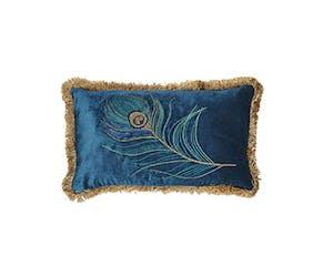 Blue Peacock Fringed Cushion