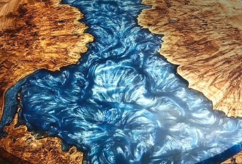 Highly pigmented Epoxy Resin Live Edge River Table