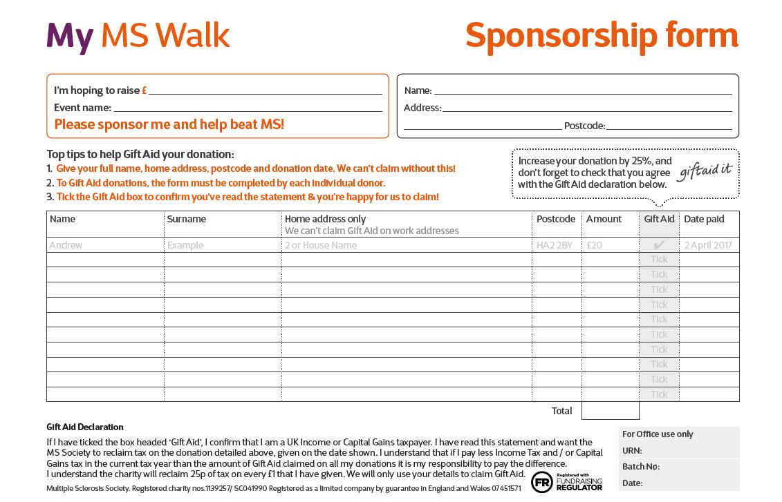 My MS Walk - Sponsorship Form