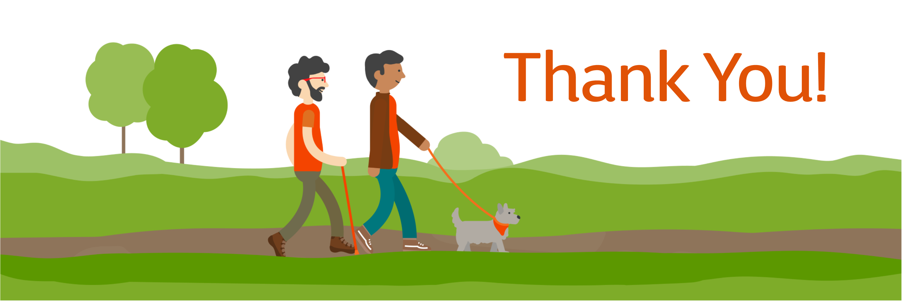 MS Society - Thank you for your donation - illustration of 2 men walk with a god