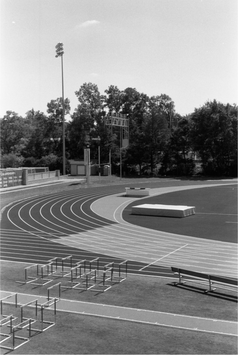 Black and white photo of a sports track