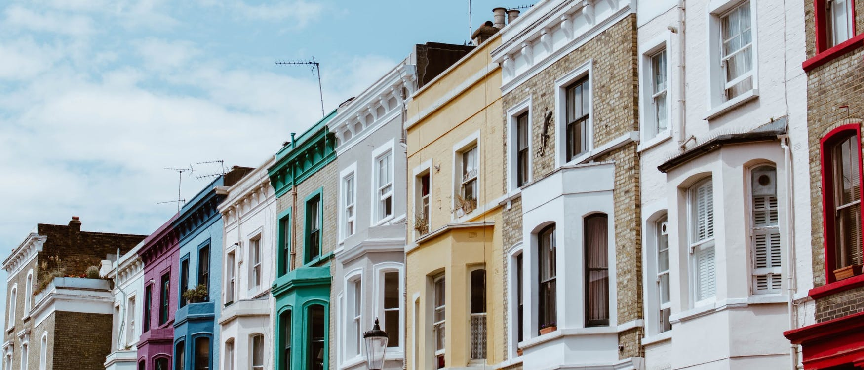 A photograph of a terrace of houses in London