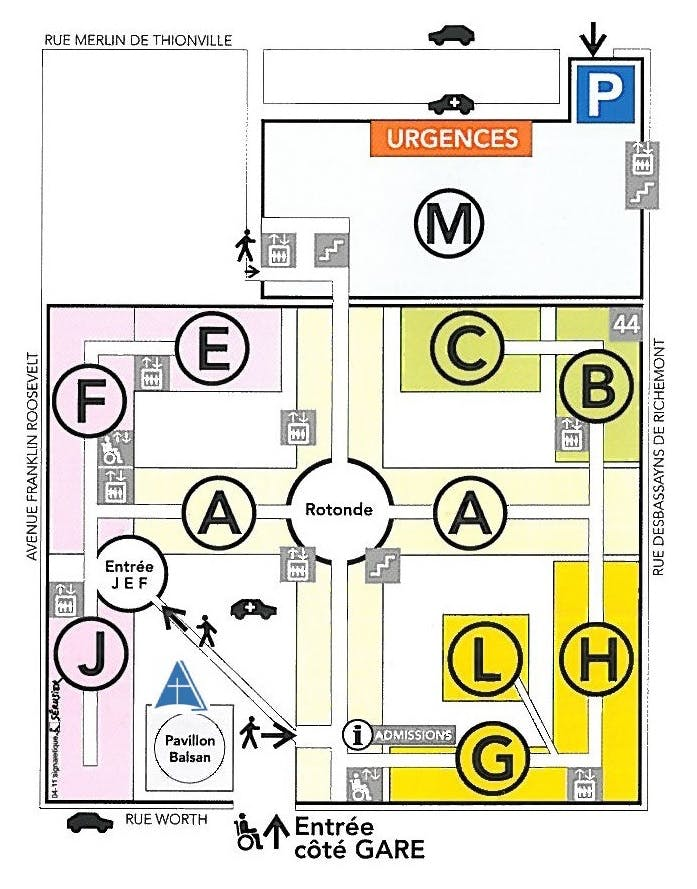 Plan de l'hôpital Foch