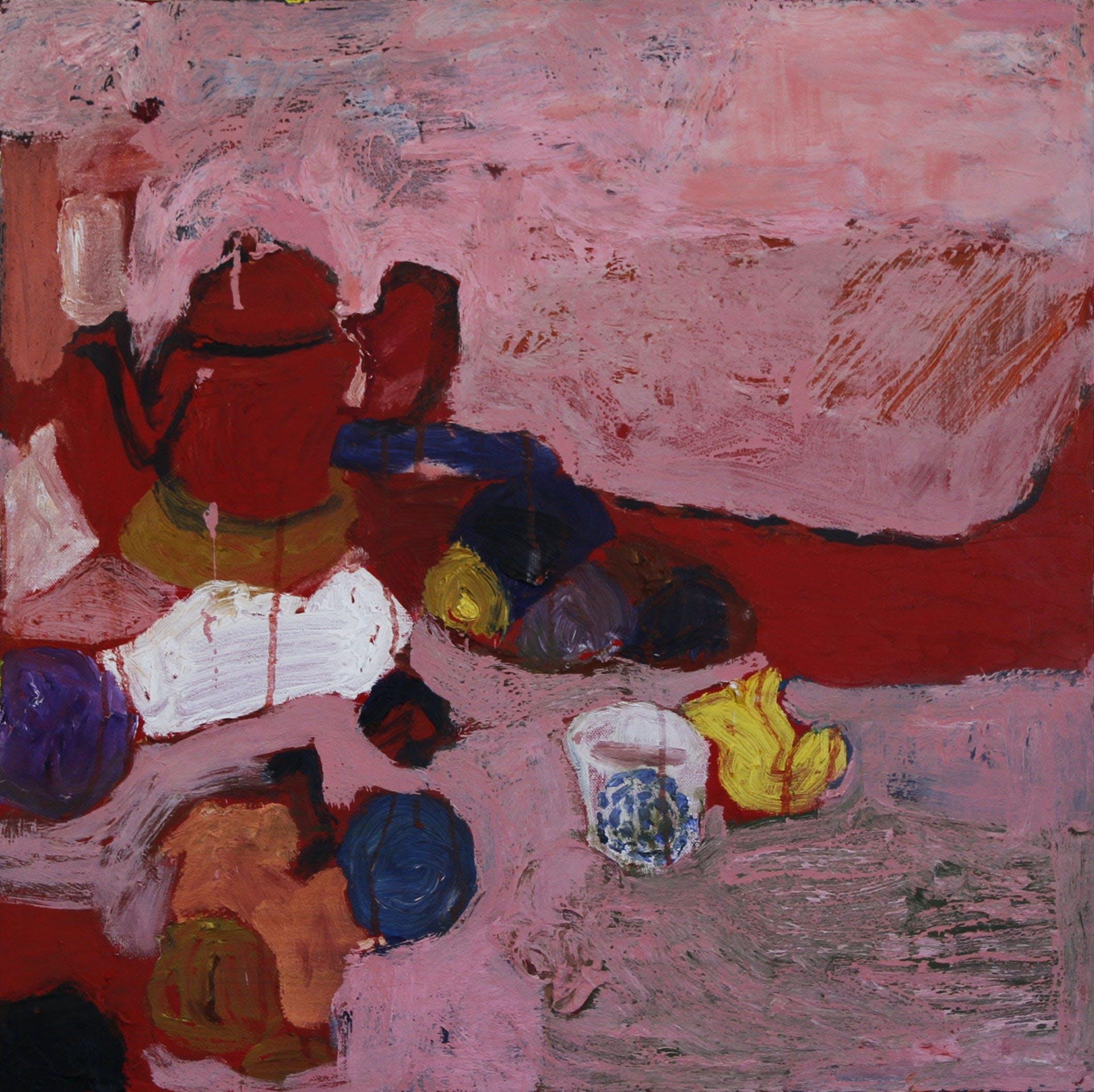 Punainen asetelma, 60cm x 60cm, öljy/tempera kankaalle, 2015