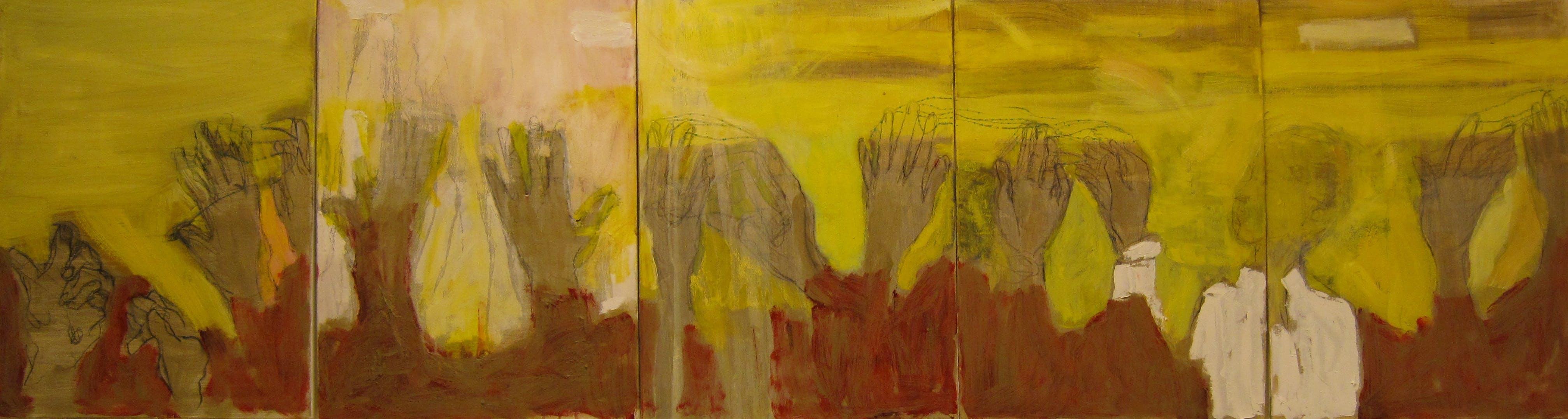 Kävin Taivaassa, 5 x 70cm x 55cm, öljy/tempera kankaalle, 2010