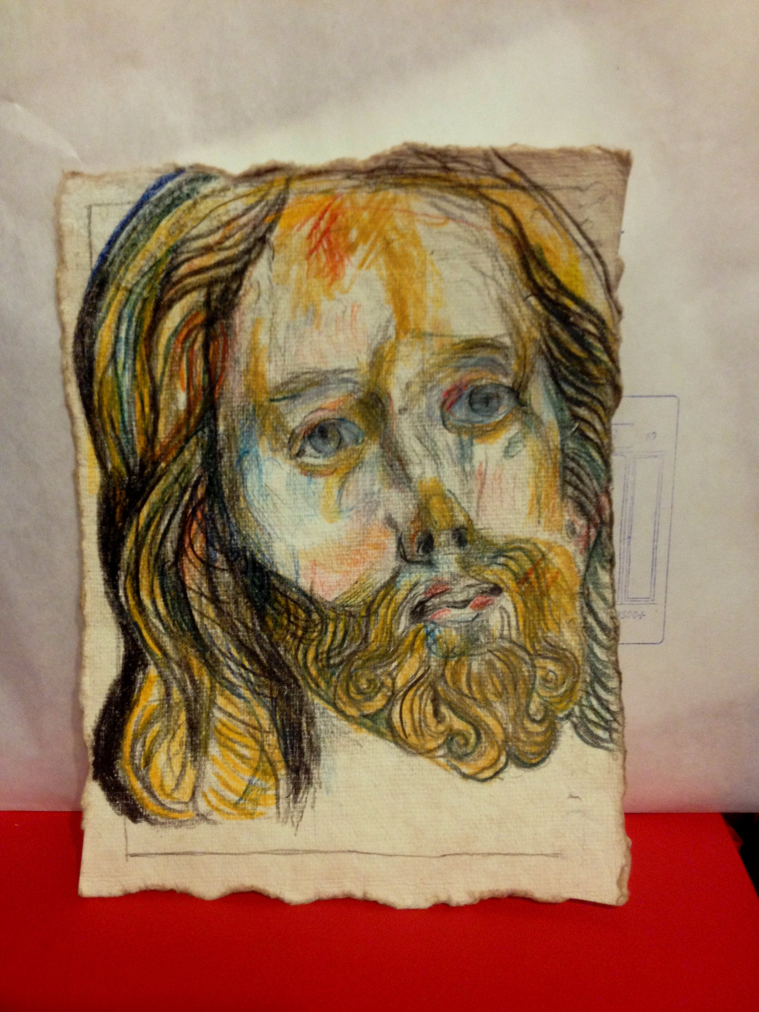 Jeesus, 20cm x 15cm, värikynä/paperi, 2019 (Pariisi)