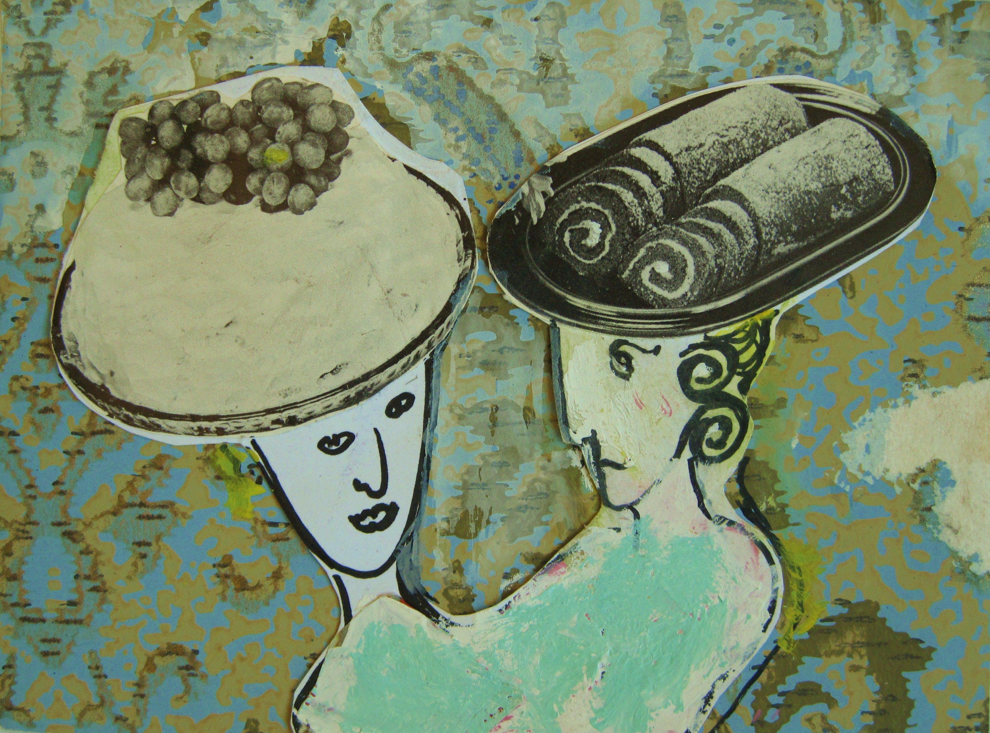Kakkupäät, 15 cm x 20cm, kollaasi, 2007