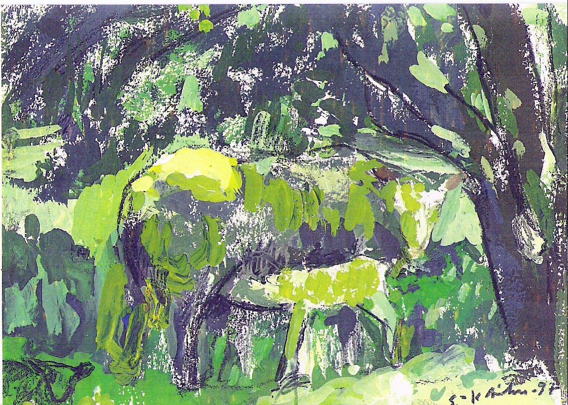 Esteri ja Siru, 15cm x 20cm, guassi, 1997