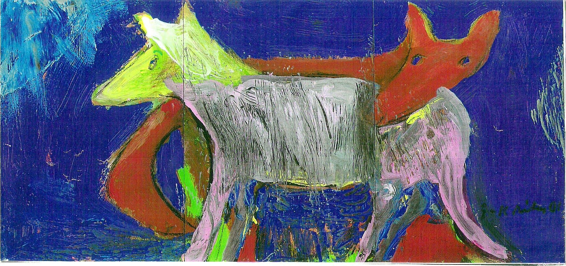 Häätanhu, 15cm x 30cm, guassi, 2001