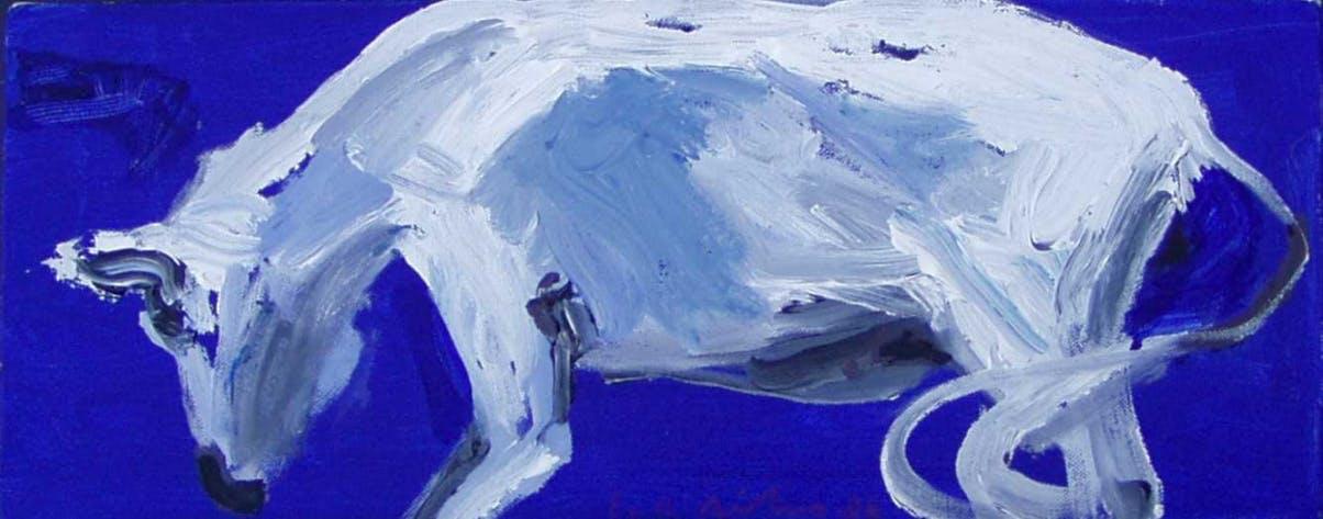 Siniharmaat, 25cm x 50cm, akryyli, 2006