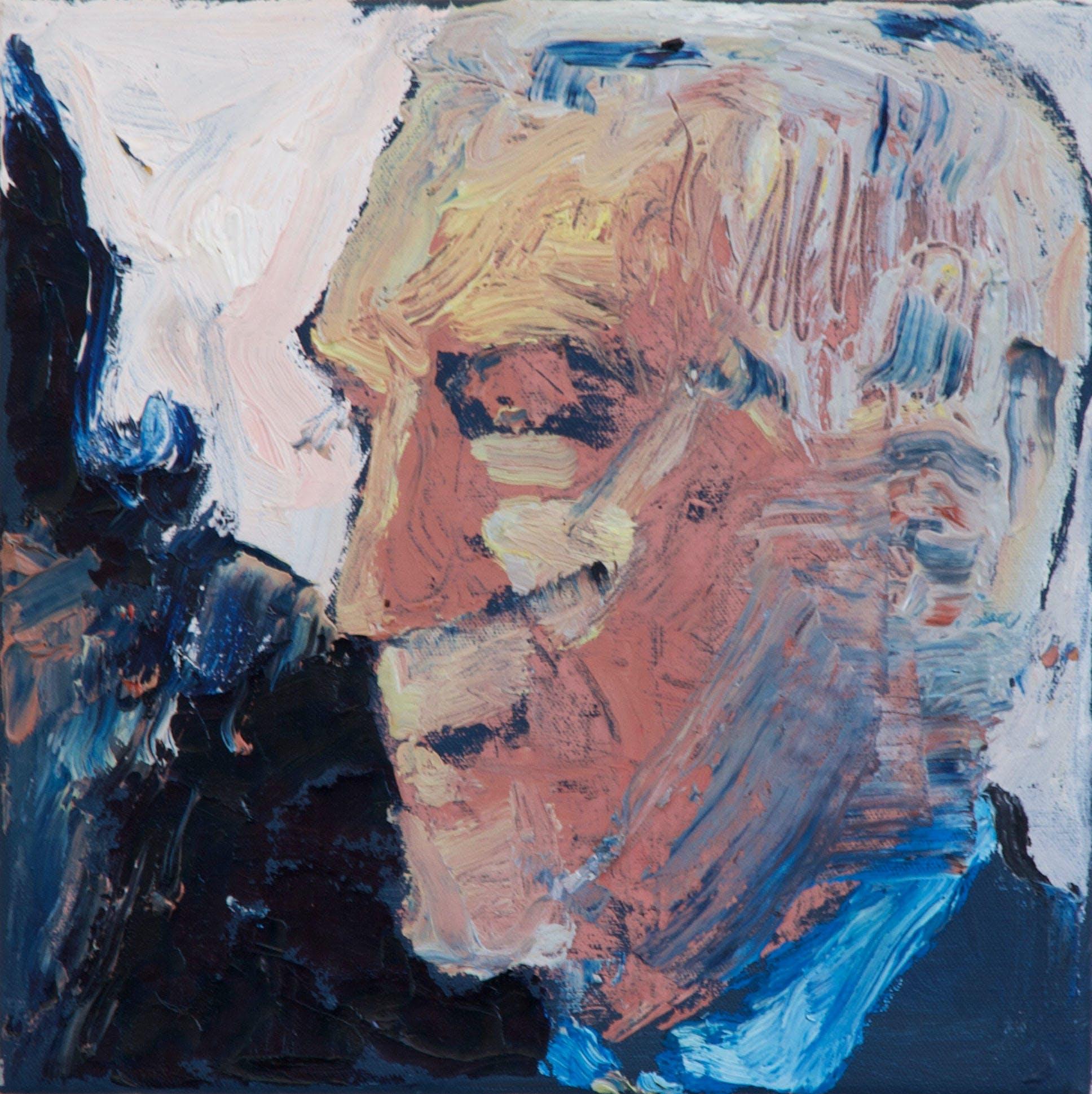 Pentti, 20cm x 20cm, öljy kankaalle, 2017