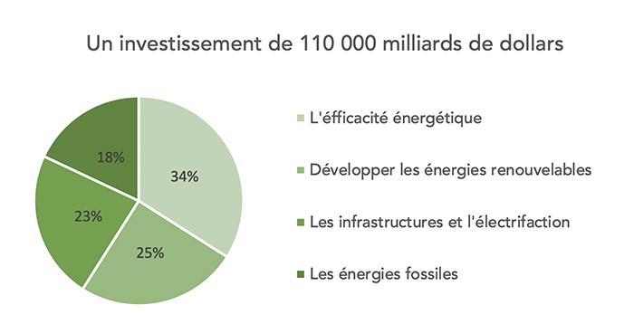 Graphique représentant les parties de l'investissement de 110 000 milliards de dollars