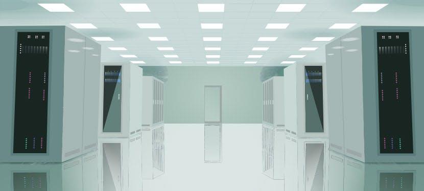 Un data center, salle de stockage des données de tous les utilisateurs du monde