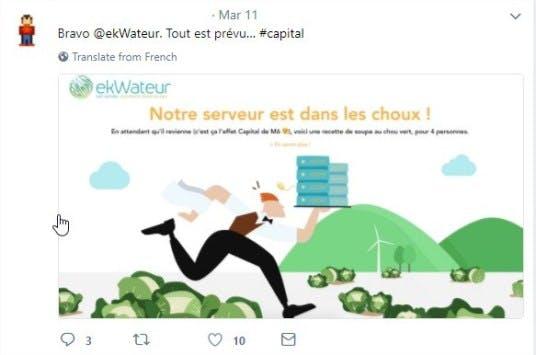 """Un commentaire Twitter sur la nouvelle page d'erreur d'ekWateur : """"Notre serveur est dans les choux !"""""""