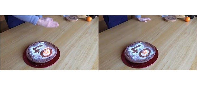 Un gâteau avec des bougies allumées puis éteintes