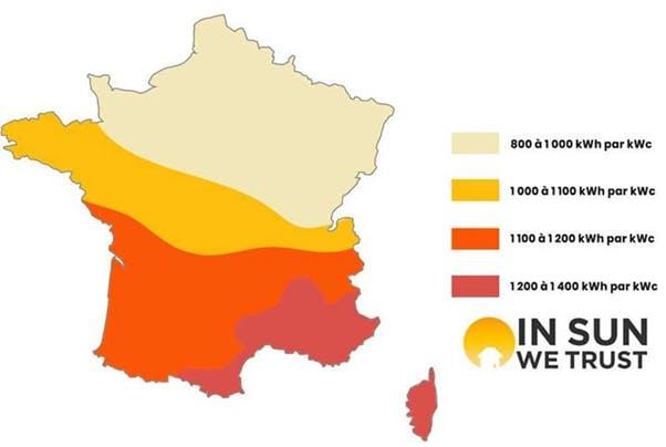 carte de France production potentielle des panneaux solaires