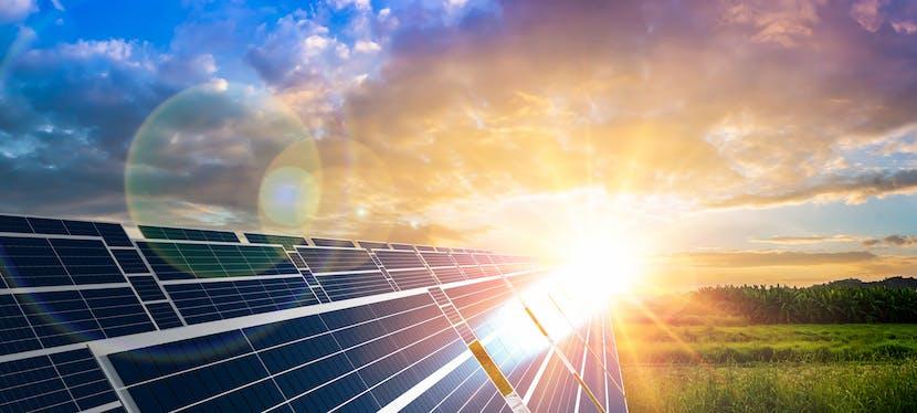 Des panneaux solaires qui produisent de l'électricité grâce à l'énergie du soleil
