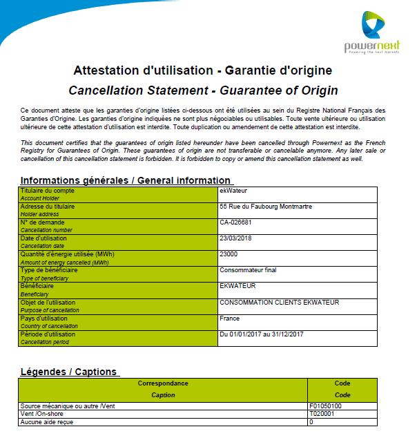Le document d'attestation d'utilisation par ekWateur des garanties d'origine de son énergie renouvelable