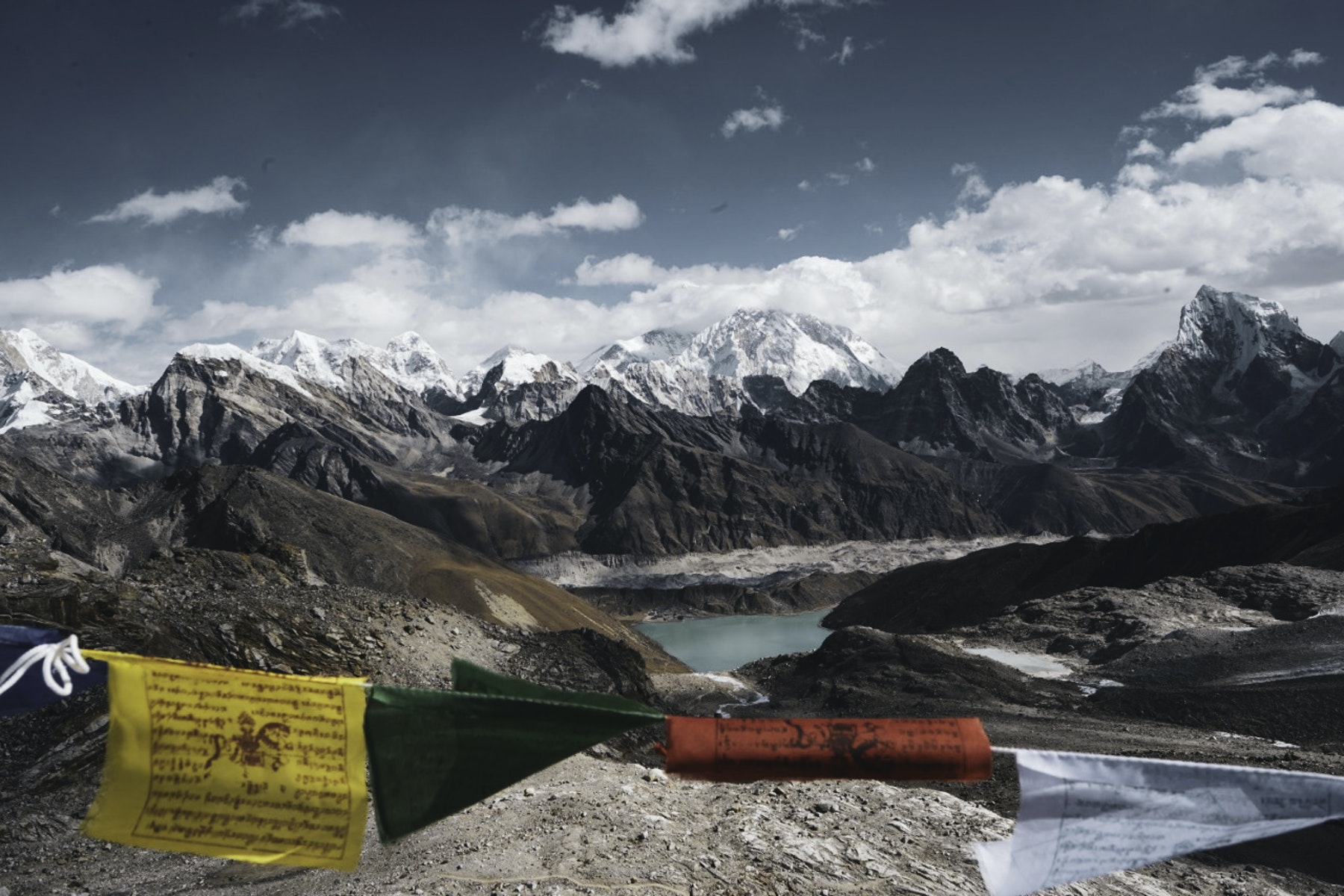 Everest, in the background towering above the infamous Khumbu Icefall and Glacier