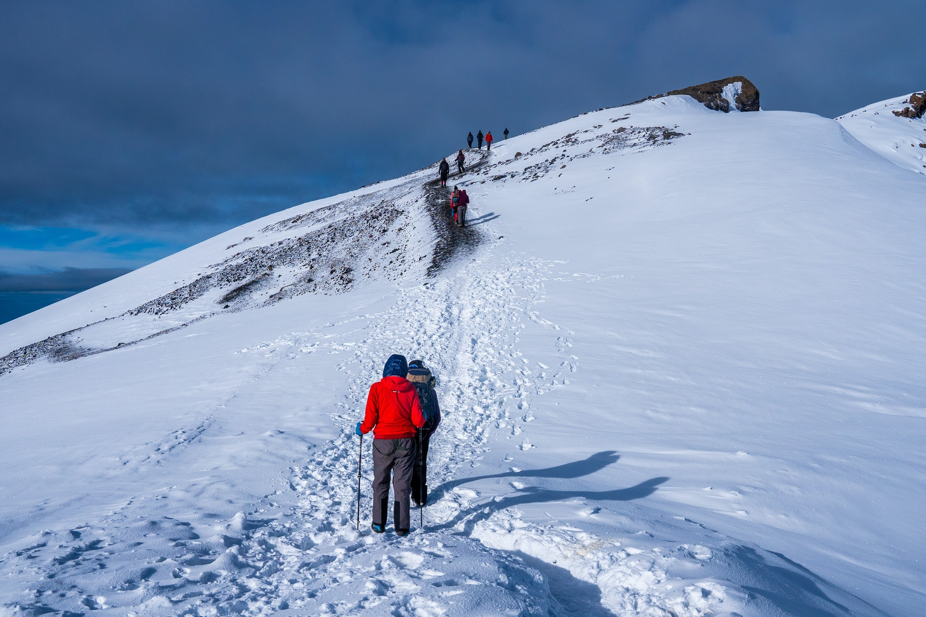 Trekkers hiking among snows and rocks of Kilimanjaro mountain