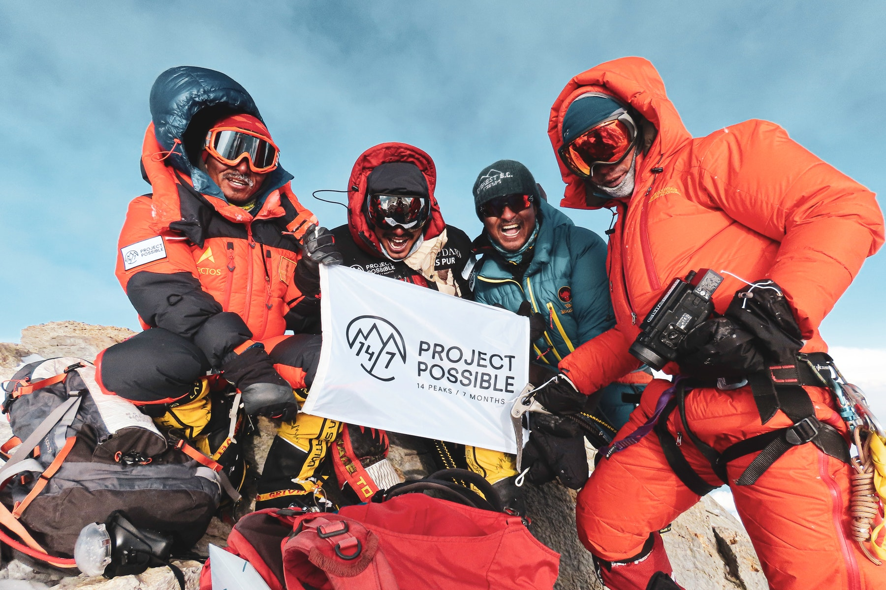 Team proud on the summit of Dhaulagiri after a hard battle with the extreme weather