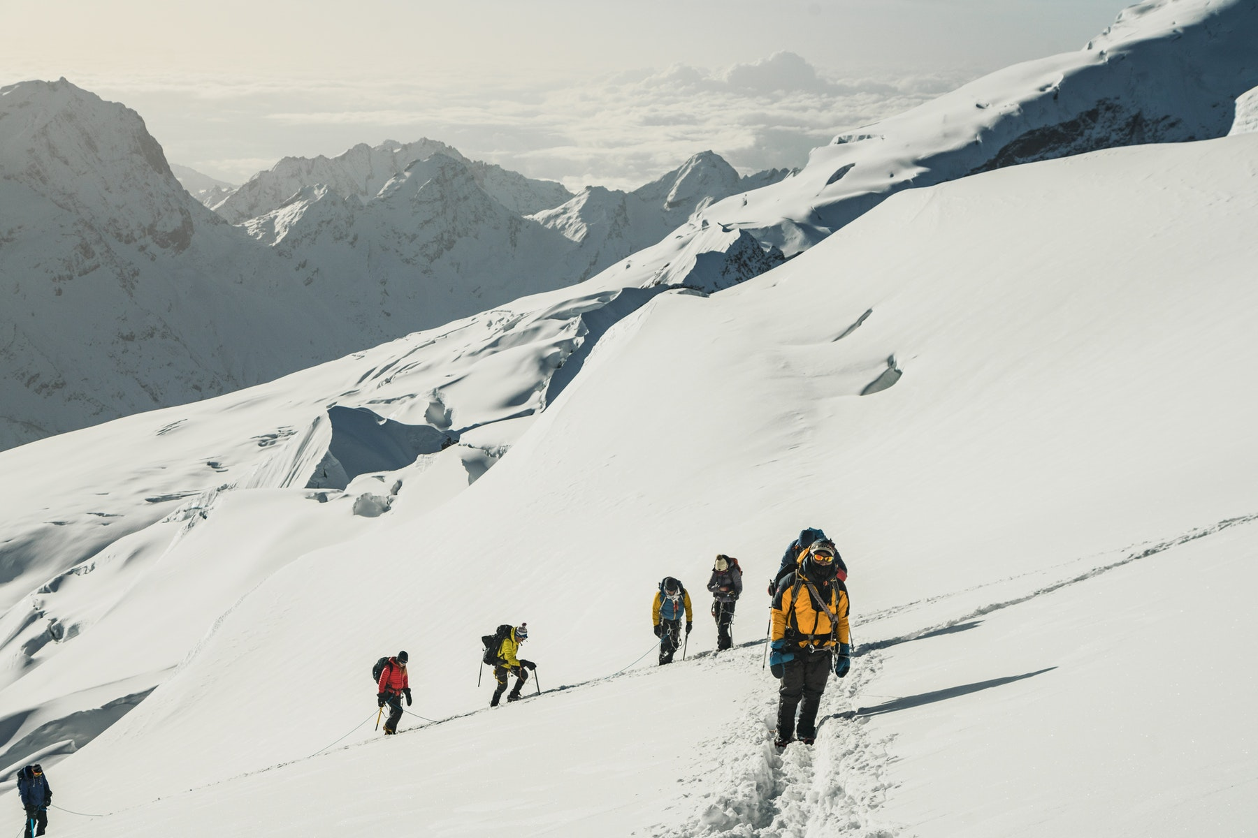 Climbers on the way to the summit of Mera Peak