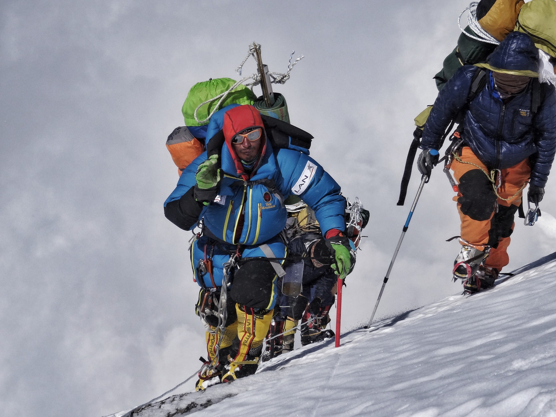 Climbers making their way to the summit