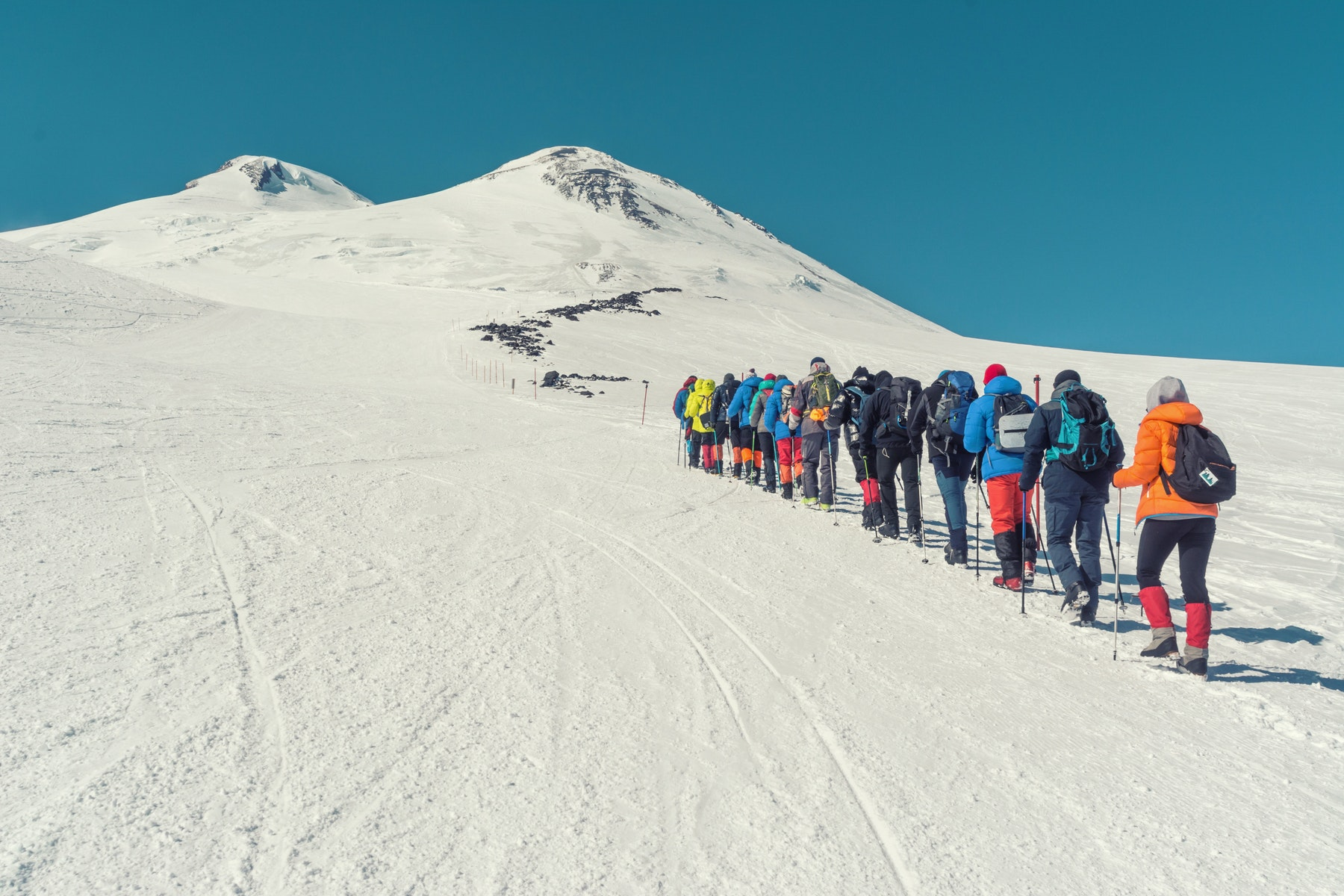 Group of climbers on Mt Elbrus
