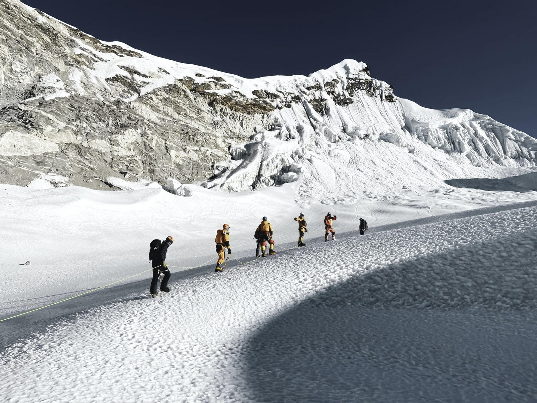 Climbers on the way to the summit of Island peak