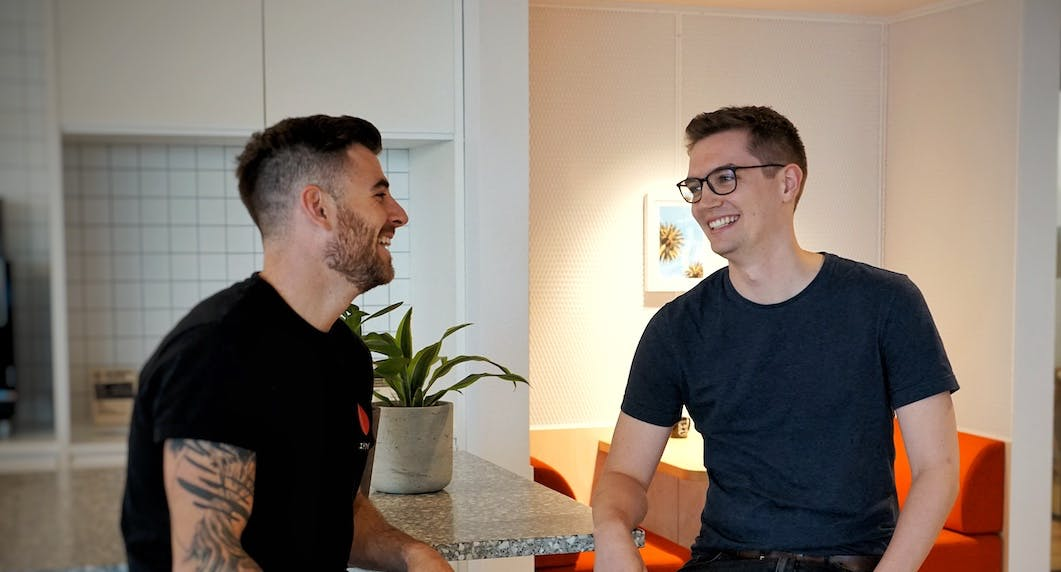 Dan Hogan on the left and Aaron Shaw on the right, co-founders of Ember in discussion.