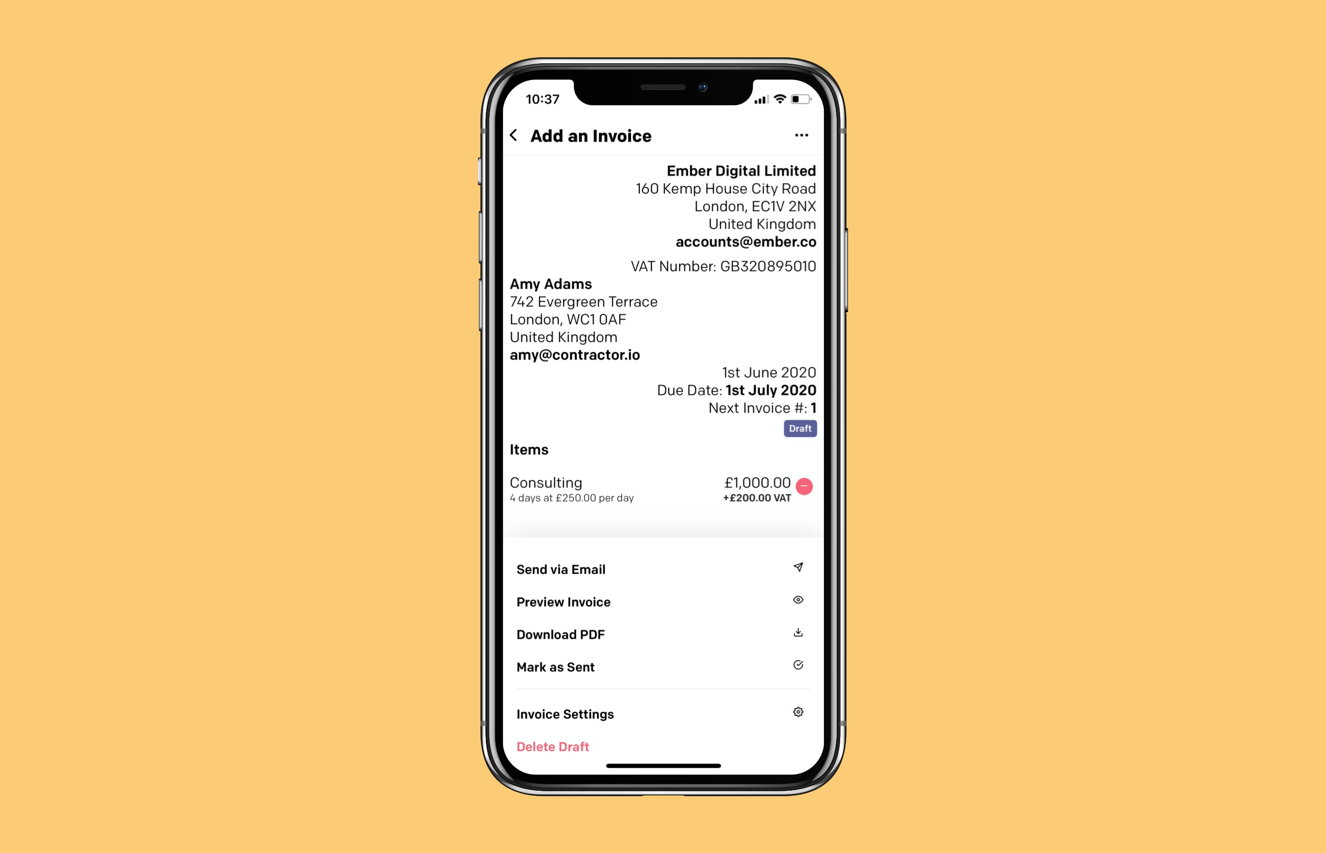 Invoicing screens on iOS device