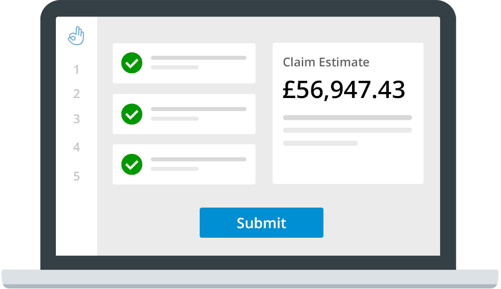 Laptop with estimate and submit button on it.