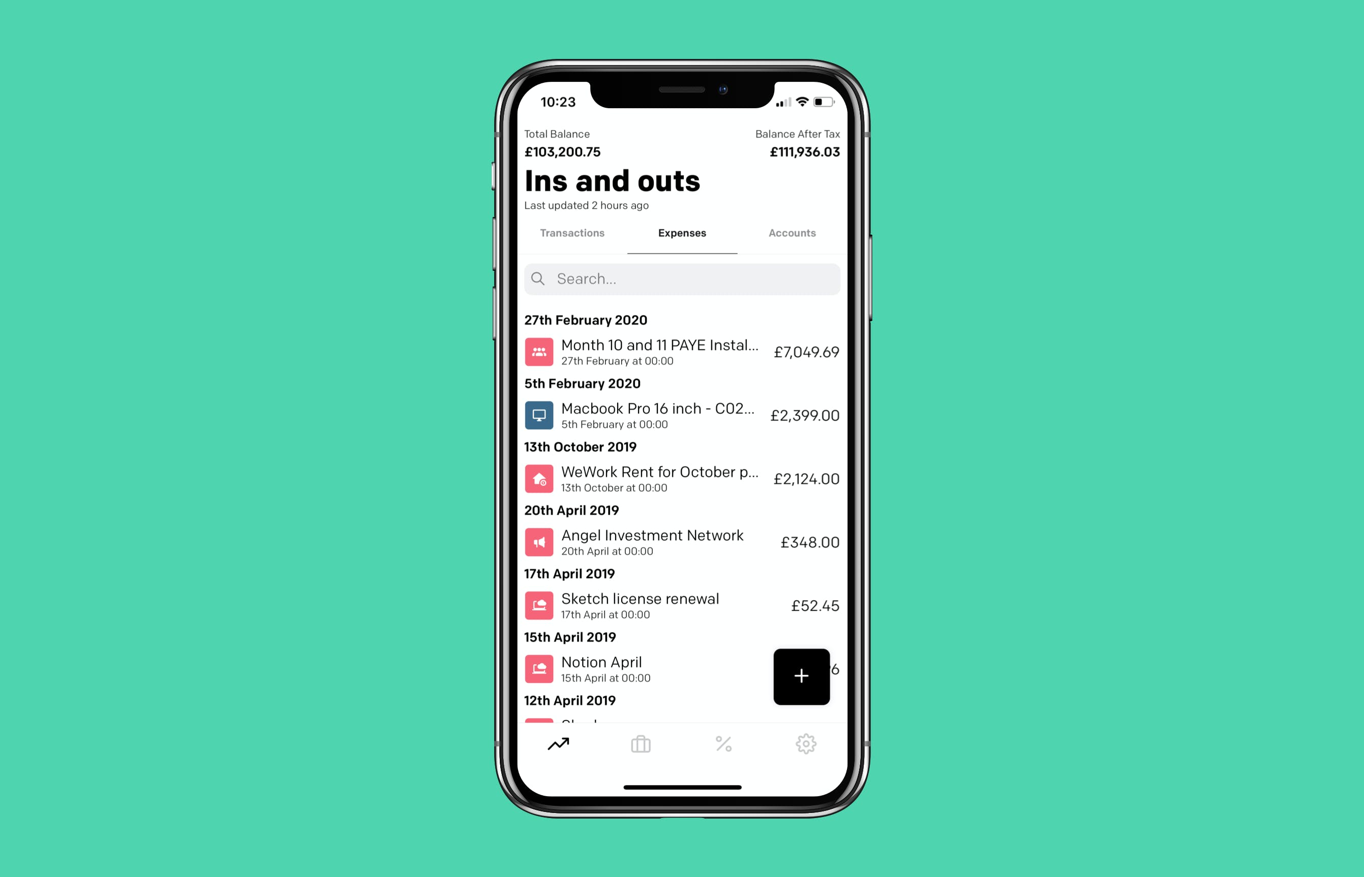 Expenses separate from feed on mobile device