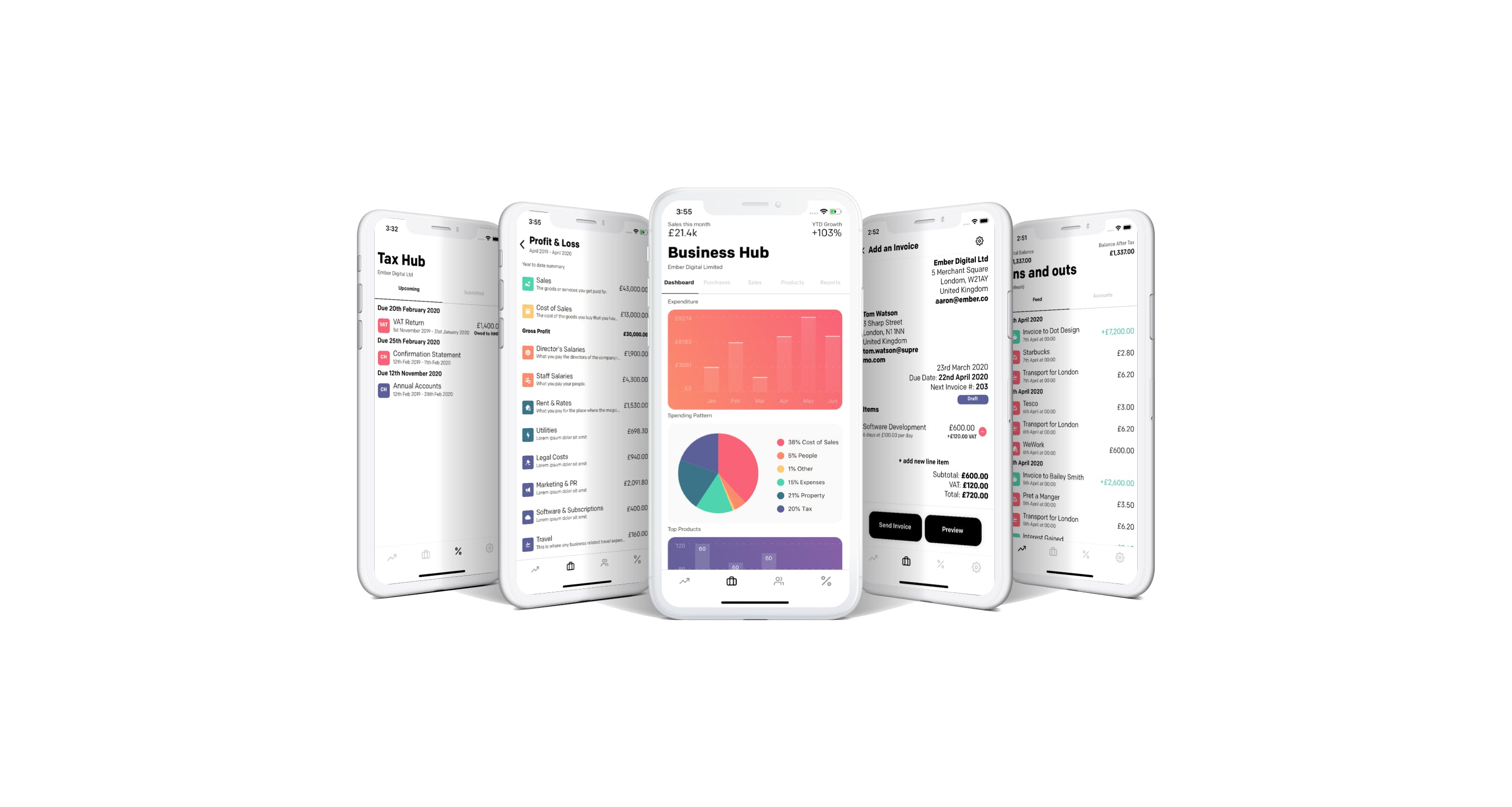 5 phones with screenshots of the app