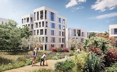 """Jardin du programme immobilier neuf à Nanterre """"Allée du Colonel Fabien"""""""
