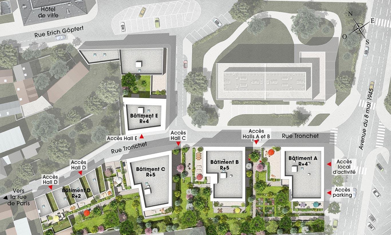 Plan masse de la résidence Rue Tronchet à Palaiseau