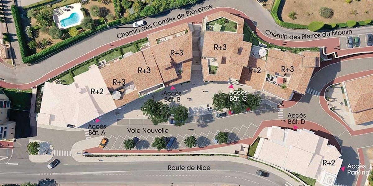 Chemin des Comtes de Provence au Rouret : plan masse MEDIAS