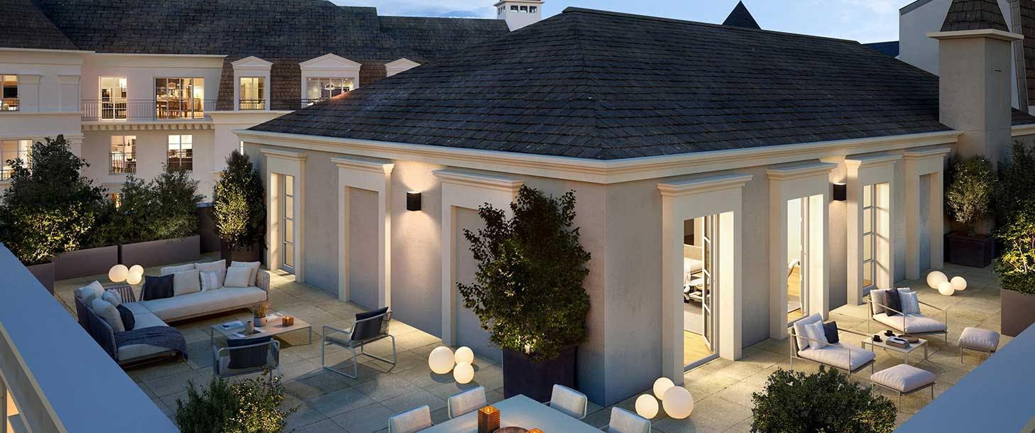 Terrasse d'un appartement neuf du programme immobilier 18 Avenue Edouard Herriot au Plessis-Robinson