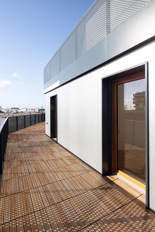Terrasse d'un appartement neuf du programme immobilier à Gennevilliers Les Allées Maria Casarès