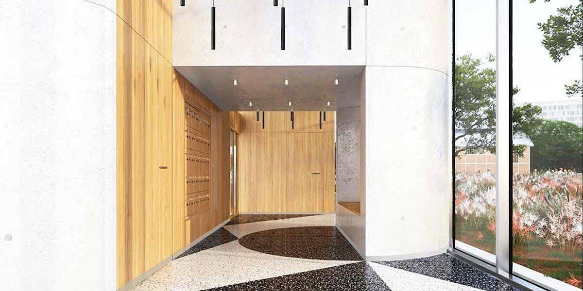 """Hall du bâtiment B du programme immobilier neuf à Ivry-sur-Seine """"11 Rue Galilée"""""""