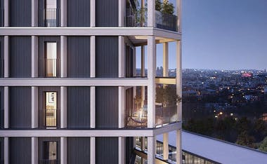 """La façade en bois du programme immobilier neuf à Paris 13 """"Le Berlier"""""""