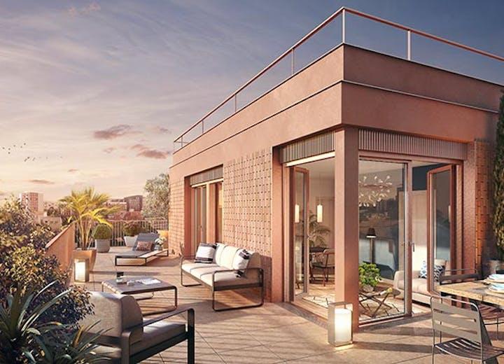 Terrasse d'un appartement neuf du programme immobilier Rue Gustave Courbet à Bagneux